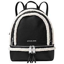 Buy MICHAEL Michael Kors Rhea Leather Zip Medium Backpack, Black Online at johnlewis.com