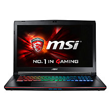"Buy MSI GE72 6QF Apache Pro Gaming Laptop, Intel Core i7, 8GB RAM, 1TB HDD + 256GB SSD, 17.3"", Black Online at johnlewis.com"