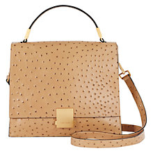 Buy Karen Millen Leather Ostrich Satchel Bag, Camel Online at johnlewis.com