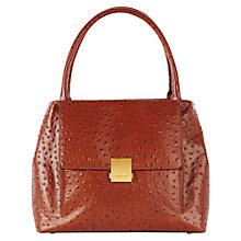 Buy Karen Millen Leather Ostrich Large Box Bag, Tan Online at johnlewis.com