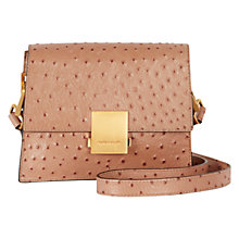 Buy Karen Millen Leather Ostrich Mini Satchel Bag, Nude Online at johnlewis.com