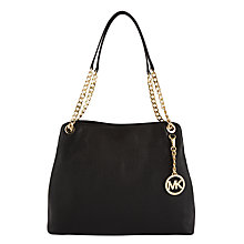 Buy MICHAEL Michael Kors Jet Set Travel Leather Chain Strap Large Shoulder Bag, Black Online at johnlewis.com