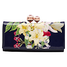 Buy Ted Baker Iddell Botanical Trail Leather Matinee Purse, Navy Online at johnlewis.com