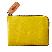 Buy Orla Kiely Flower Stem Embossed Leather Medium Flat Zip Wallet, Daffodil Online at johnlewis.com