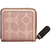 Buy Orla Kiely Sixties Stem Punched Leather Square Zip Wallet, Dusky Pink Online at johnlewis.com