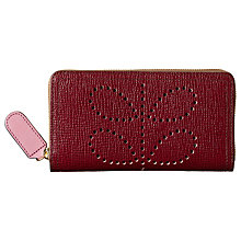 Buy Orla Kiely Textured Leather Zip Wallet, Berry Online at johnlewis.com