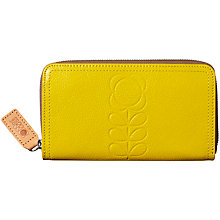 Buy Orla Kiely Flower Stem Embossed Leather Big Zip Wallet, Daffodil Online at johnlewis.com