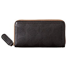 Buy Orla Kiely Sixties Stem Punched Leather Zip Wallet, Black Online at johnlewis.com