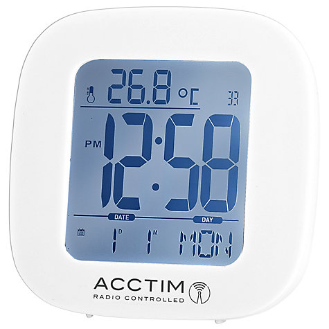 buy acctim sandby radio controlled alarm clock white john lewis. Black Bedroom Furniture Sets. Home Design Ideas