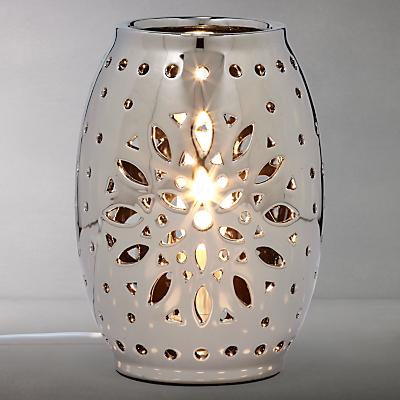 John Lewis Leia Gunmetal Vessel Fretwork Table Lamp, Silver
