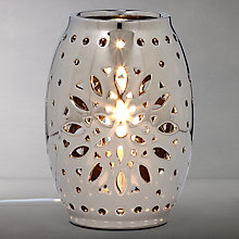 Buy John Lewis Leia Gunmetal Vessel Fretwork Table Lamp, Silver Online at johnlewis.com