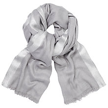 Buy John Lewis Metallic Border Scarf, Light Grey/Silver Online at johnlewis.com