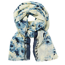 Buy John Lewis Rose Print Cotton Scarf, Indigo/Cream Online at johnlewis.com