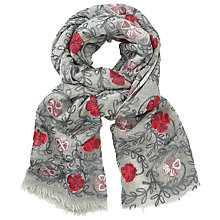 Buy John Lewis Floral Embroidery Scarf, Grey/Red Online at johnlewis.com