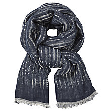 Buy John Lewis Casual Stripe Scarf, Indigo Online at johnlewis.com