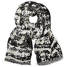 Buy John Lewis Zig Zag Burnout Abstract Print Scarf, Navy/Off White Online at johnlewis.com