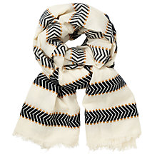 Buy John Lewis Chevron Stripe Scarf, Cream Mix Online at johnlewis.com