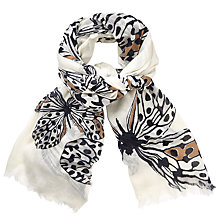 Buy John Lewis Mono Wings Print Scarf, Cream Mix Online at johnlewis.com