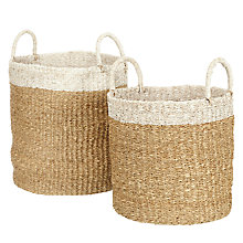 Buy John Lewis Fusion Tip Basket, Set of 2, White Online at johnlewis.com