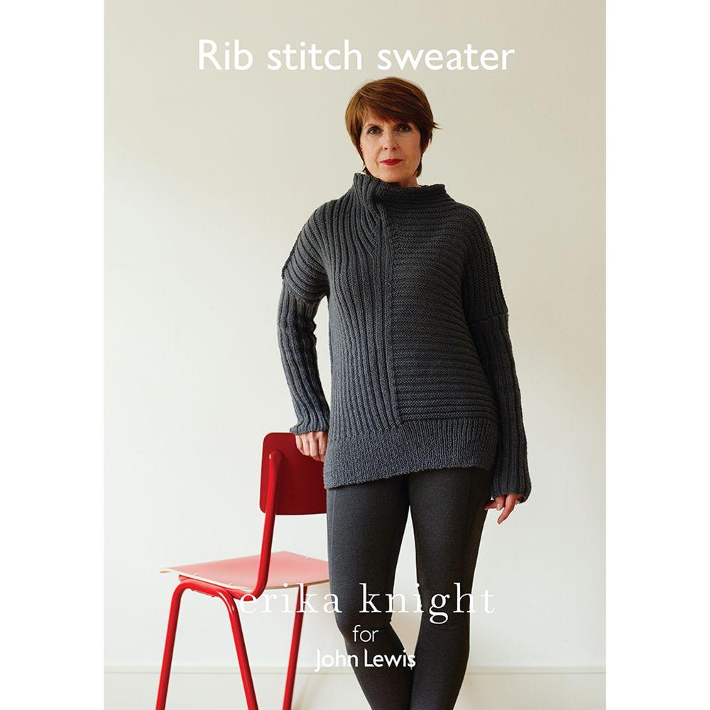 Erika Knight for John Lewis Erika Knight for John Lewis Women's Rib Stitch Sweater Knitting Pattern
