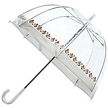 Buy Fulton Birdcage Squirrel Print Umbrella, Clear/Brown Online at johnlewis.com