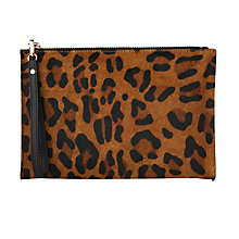 Buy Whistles Leopard Print Pony Leather Wristlet, Brown Online at johnlewis.com