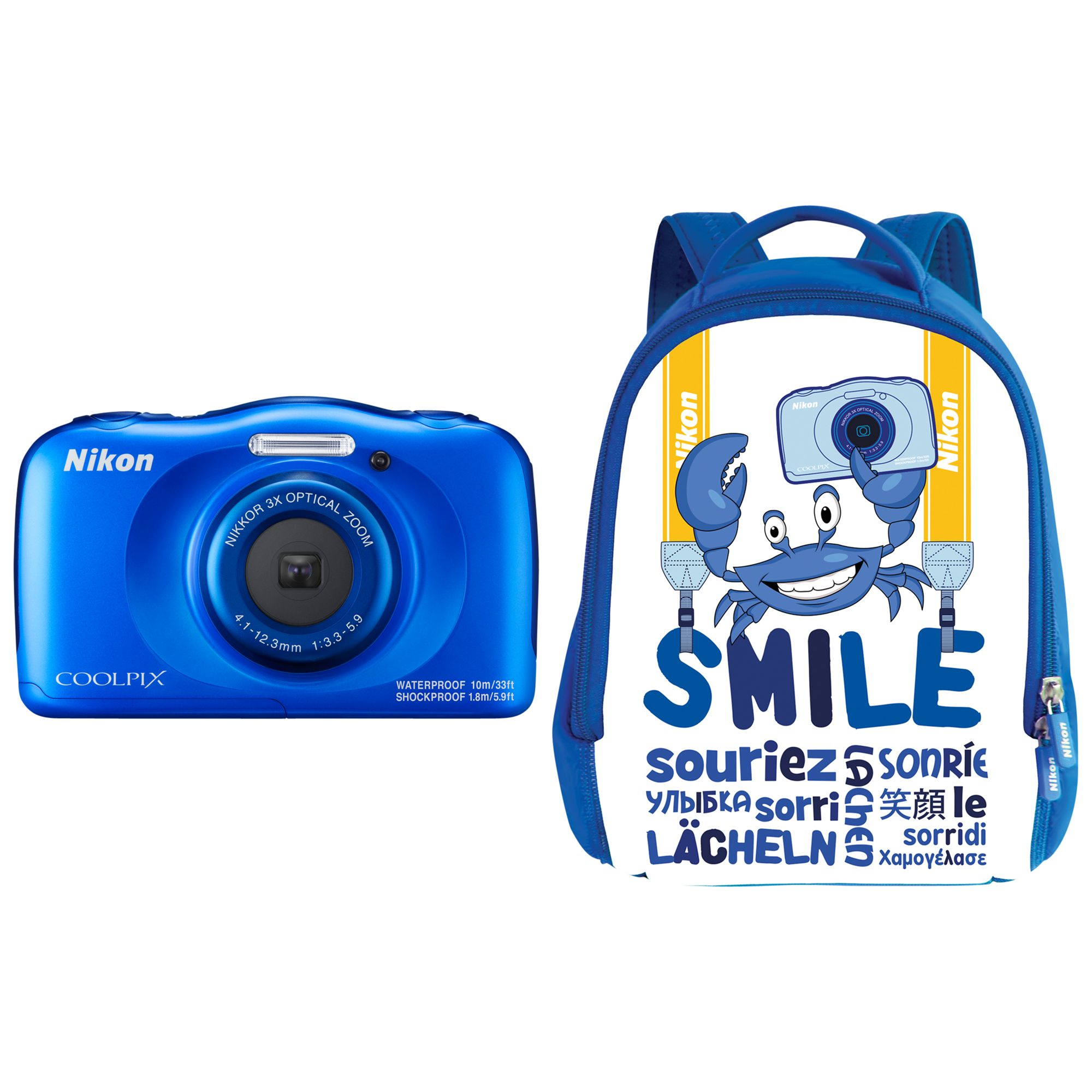 Nikon Nikon COOLPIX W100 Waterproof Digital Camera, 13.2MP, HD 1080p, 3x Optical Zoom, Bluetooth & 2.7 LCD Screen