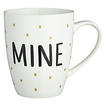 Buy John Lewis Gold Polka Dot 'Mine' Mug Online at johnlewis.com