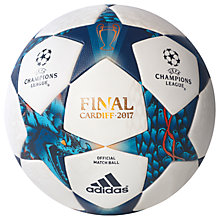 Buy Adidas UEFA 2017 Cardiff Final Football, Size 5, White/Blue Online at johnlewis.com