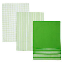 Buy John Lewis Check Stripe Tea Towel, Set of 3, Green Online at johnlewis.com