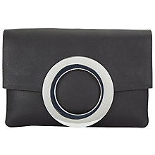 Buy Kin by John Lewis Fia Circle Leather Clutch Bag, Black Online at johnlewis.com