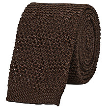Buy Reiss Shaun Slim Knitted Silk Tie, Brown Online at johnlewis.com