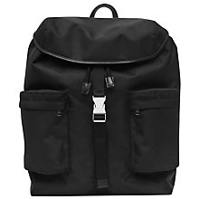 Buy Reiss Billings Textured Nylon Backpack, Black Online at johnlewis.com