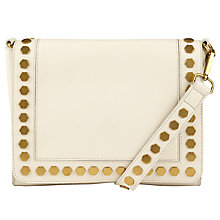 Buy John Lewis Clea Leather Across Body Bag, Cream Online at johnlewis.com