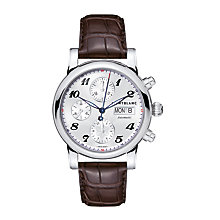 Buy Montblanc106466 Men's Star Chronograph Day Date Automatic Leather Strap Watch, Brown/Silver Online at johnlewis.com