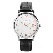 Buy Montblanc 110717 Men's Star Date Automatic Stainless Steel Leather Strap Watch, Black Online at johnlewis.com