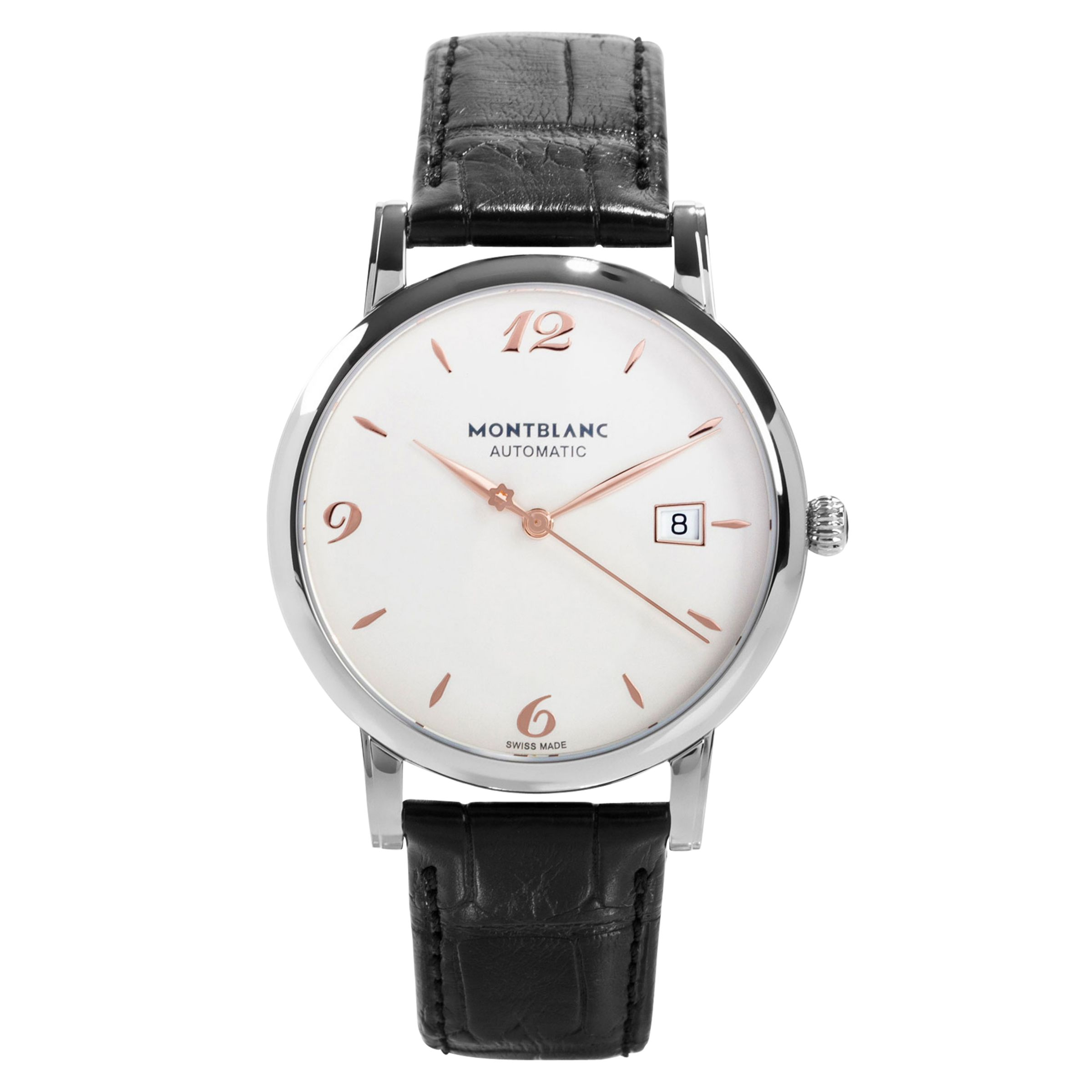 Montblanc Montblanc 110717 Men's Star Date Automatic Stainless Steel Leather Strap Watch, Black