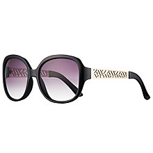 Buy John Lewis Oversize Square Cut Out Detail Sunglasses, Black/Purple Gradient Online at johnlewis.com