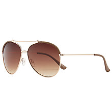 Buy John Lewis Double Bridge Aviator Sunglasses, Gold/Brown Gradient Online at johnlewis.com