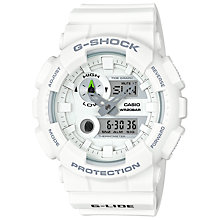 Buy Casio GAX-100A-1AER Men's G-Shock G-lide Tide Graph Resin Strap Watch, White Online at johnlewis.com