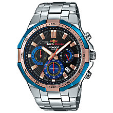 Buy Casio EFR-554TR-2AER Men's Edifice Scuderia Torro Rosso Chronograph Date Bracelet Strap Watch, Silver/Black Online at johnlewis.com