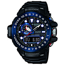 Buy Casio GWN-1000B-1BER Men's G-Shock World Time Tide Indicator Resin Strap Watch, Black Online at johnlewis.com