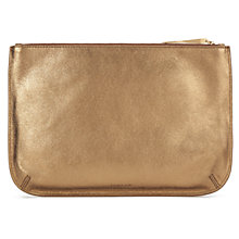 Buy Jigsaw Alana Large Leather Pouch Clutch, Bronze Online at johnlewis.com