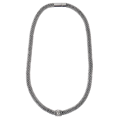 Adele Marie Fine Bead Pave Rope Necklace, Silver
