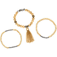 Buy Adele Marie Square Faceted Bead Tassel Stretch Bracelet, Pack of 3, Gold Online at johnlewis.com