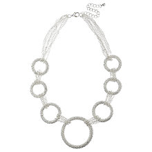 Buy Adele Marie Textured Graduating Hoop Necklace, Silver Online at johnlewis.com