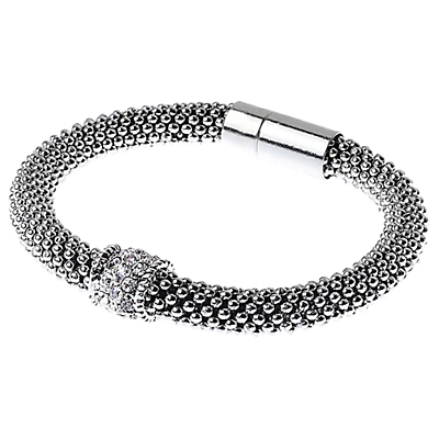 Adele Marie Fine Bead Pave Rope Bracelet, Silver