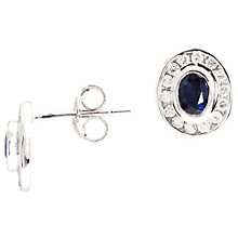 Buy A B Davis 9ct White Gold Oval Sapphire Rub Over Diamond Cluster Stud Earrings Online at johnlewis.com