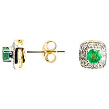 Buy A B Davis 9ct Gold Round Emerald Diamond Set Square Stud Earrings Online at johnlewis.com