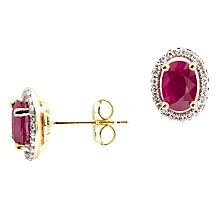 Buy A B Davis 9ct Gold Oval Ruby Diamond Set Stud Earrings Online at johnlewis.com